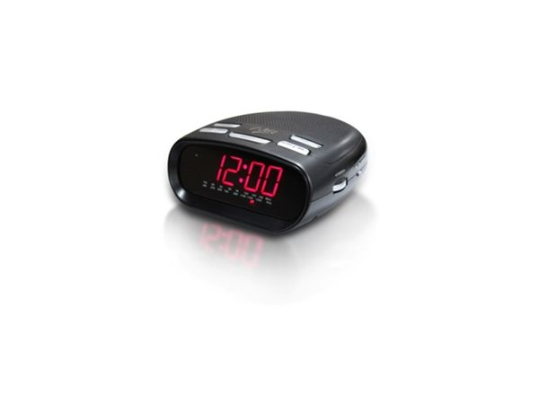 Nero Clock Radio With MP3 Player Input Cable  FEATURES:  AM/FM Clock Radio 0.9 LED Display with high-low dimmer 24 or 12 hour time & alarm clock Sleep & snooze function Wake-up to radio or buzzer Battery backup (uses 9 Volt battery not included) Colour: Black Size: 160mm (L) x 140mm (W) x 70mm (H)