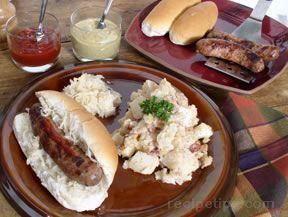 Grilled Brats with Onions and Beer.
