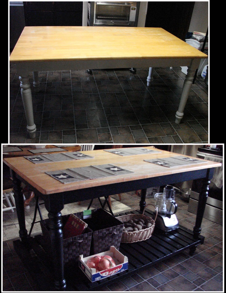 We took an ordinary kitchen table and converted it to a kitchen island. Maybe if I insert a shelf at the bottom to add 2 inches and then casters it will bring my table to counter height.
