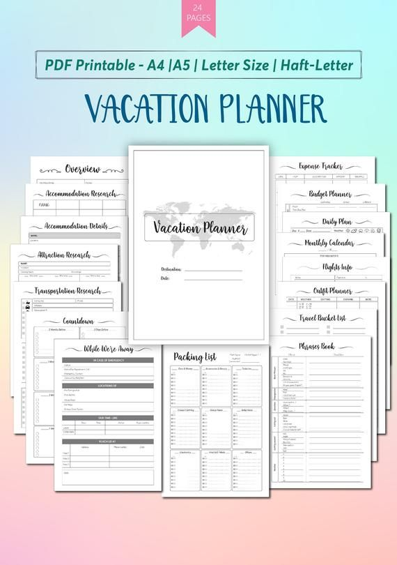Vacation Planner Printable Template Travel Planner Printable Etsy Vacation Planner Template Vacation Planner Itinerary Template Free