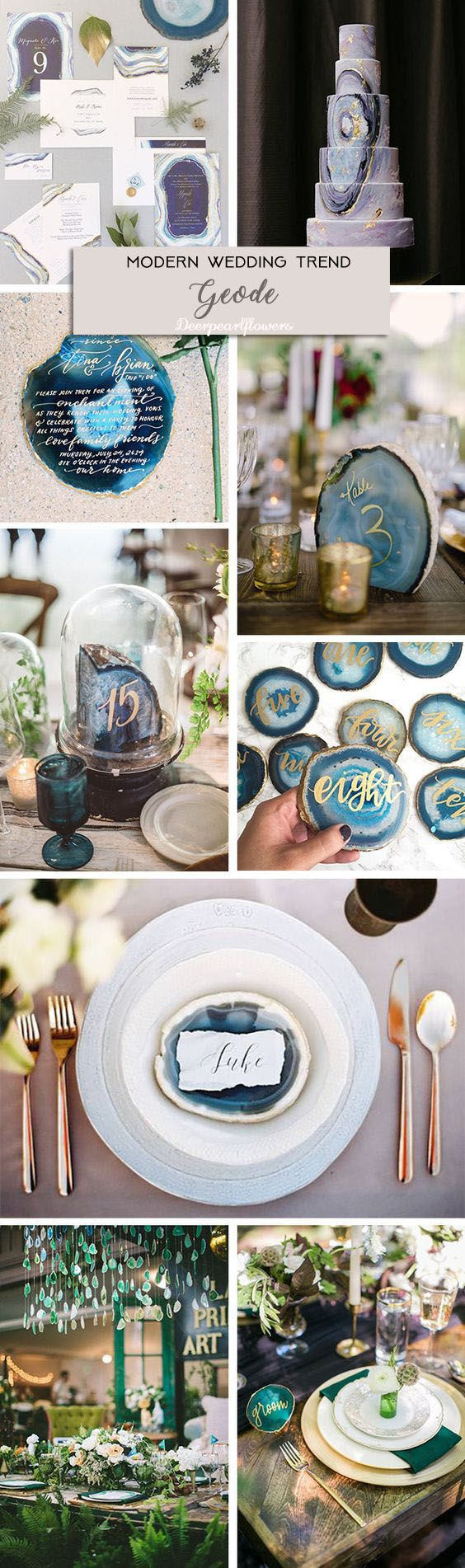 agate gem stone wedding ideas / http://www.deerpearlflowers.com/modern-wedding-theme-ideas/