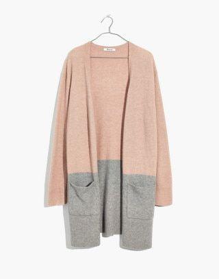 27ad6d48407 Kent Colorblock Cardigan Sweater in Coziest Yarn in heather beige image 4