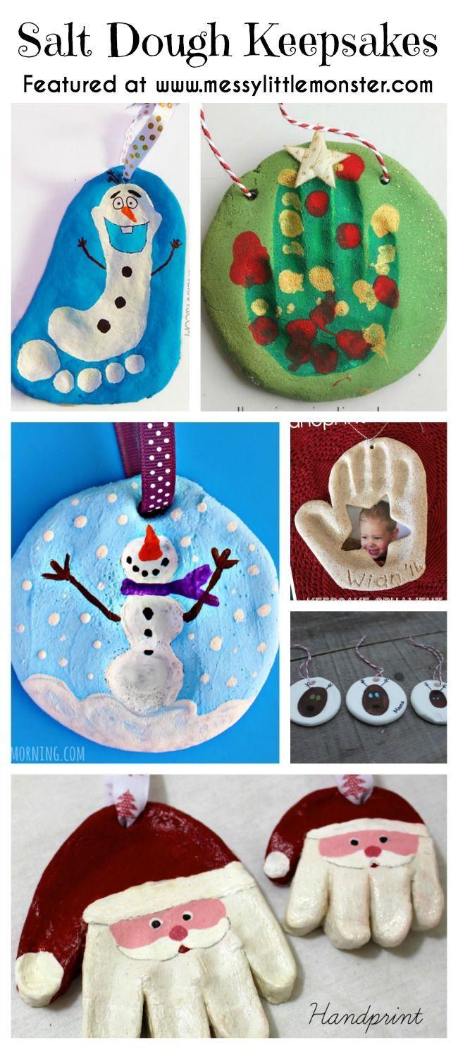 Christmas Handprint Footprint And Fingerprint Keepsakes Made From Salt Dough Simple Ornaments Christmas Crafts For Kids Preschool Christmas Christmas Crafts