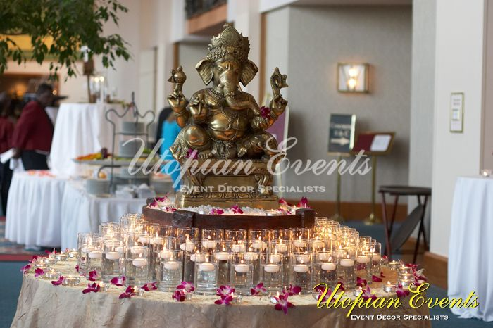 A simple, welcoming entrance for a evening reception (Hindu wedding) http://www.utopianevent.com/photo-gallery/indian-wedding-decor/