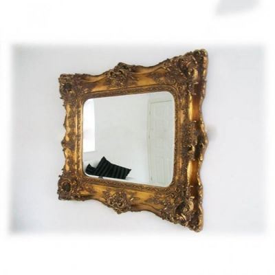 Classic Wall Mirror With Antique Style Gold Frame 124 x 104 cm