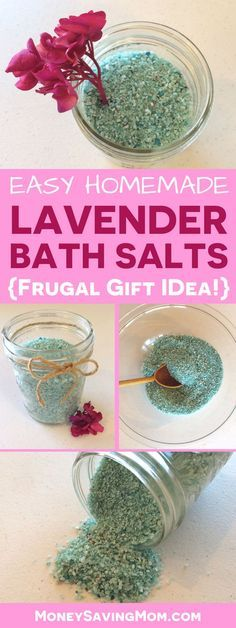 These DIY Lavender Bath Salts are SO easy to make as a frugal gift idea!