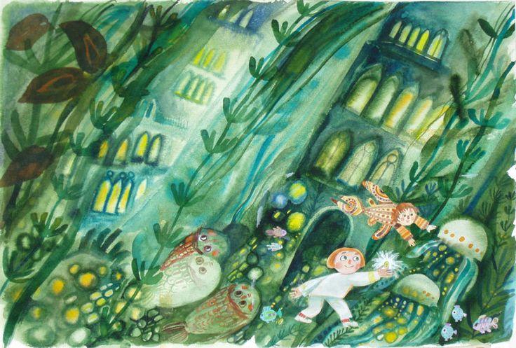 "Štěpán Zavřel illustration for ""Sotto la laguna di Venezia""."