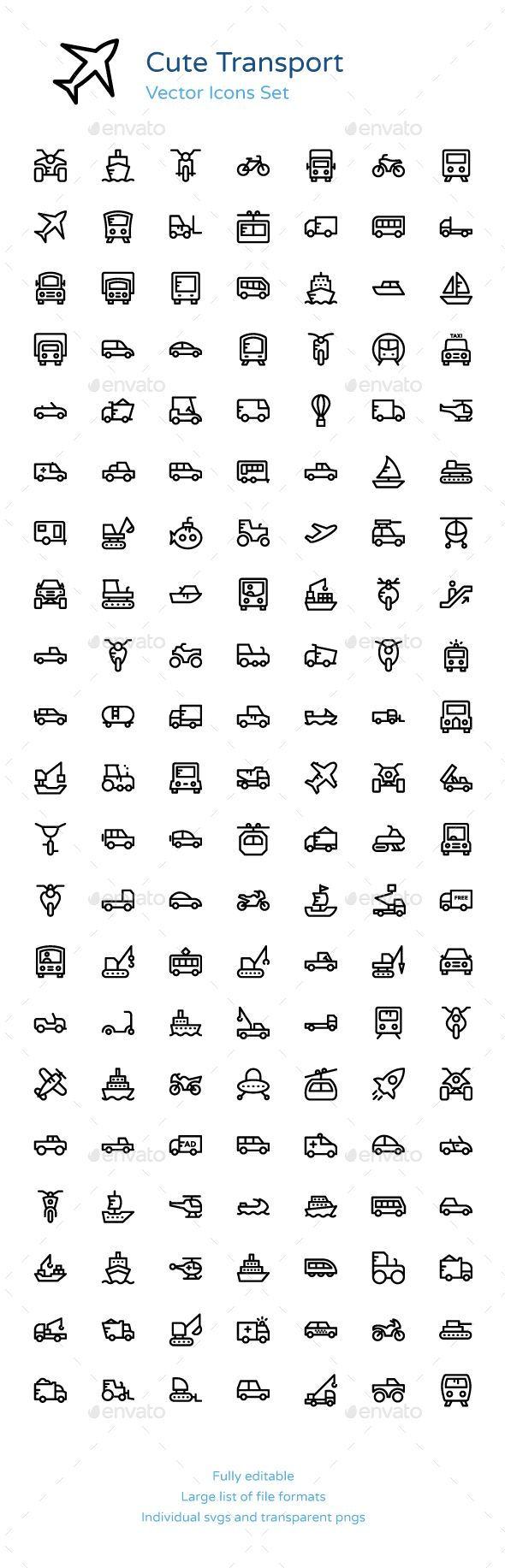 125+ Cute Transport Vector Icons
