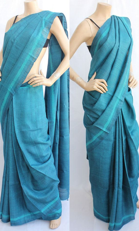 Cyan Blue Tussar Silk Saree.