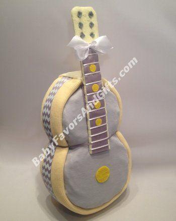 Guitar Diaper Cake - 9990109 - Neutral - Diaper Cakes - by Babyfavorsandgifts