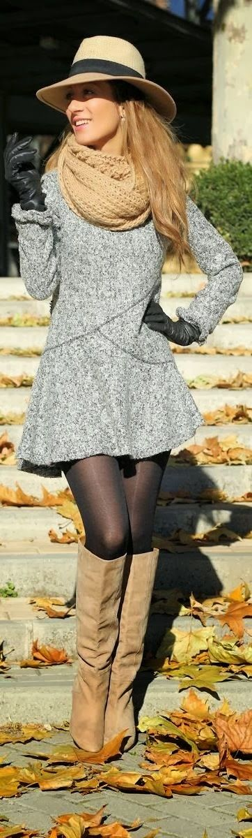 Lovely Fall Outfit with Long Shoes