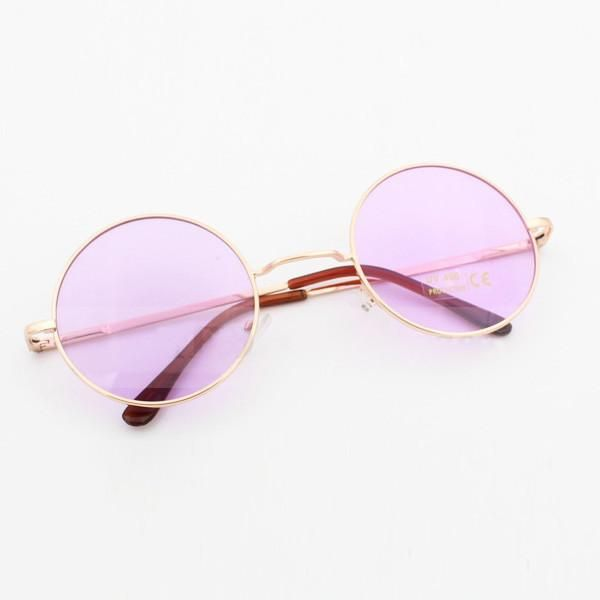 John Lennon Round Sunglasses In 3 Pastel Colors Pink Blue And Purple Hippie  Shades With Gold 6bbf6d462e