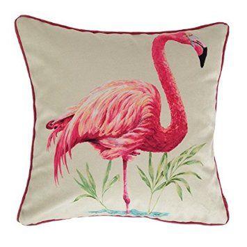 Pink Flamingo Velvet Feel Cushion Cover - Animal Print Cushions, 43cm x 43cm. By…