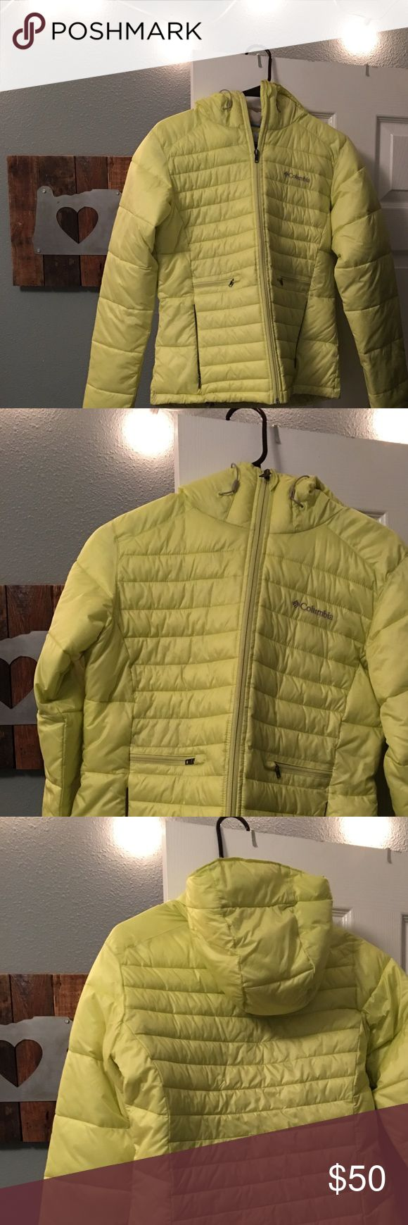 Columbia neon yellow down jacket. Super cute, comfortable, and warm! In great condition! Size medium. Columbia Jackets & Coats Puffers