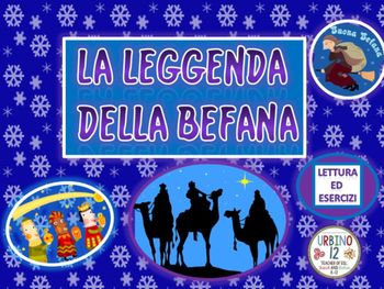 Powerpoint presentation depicting the legend of La Befana. She is a  good witch who brings things to children  for the Feast of the Epiphany on January 6th. She is a non religious figure. Created for a level I FLES Italian class. Presentation includes:- legend to be read in class together or on student Ipads or tablets, -- one slide of 10 vocabulary words with synonyms and /or antonyms, - four slides with activities that test for comprehension including: true/false, sentence completion…
