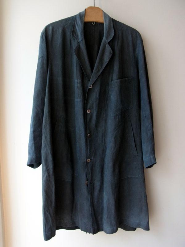 1880s-1900s French Indigo Linen Coat