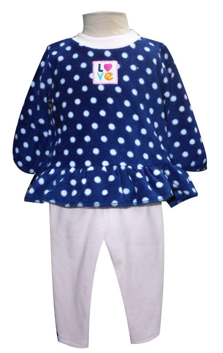 Blusa con bordado y olanes y leggings largos. Tallas 3, 6, 12 y 18 meses.