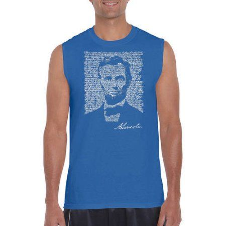 Los Angeles Pop Art Men's Sleeveless T-Shirt - Abraham Lincoln - Gettysburg Address, Size: Small, Blue