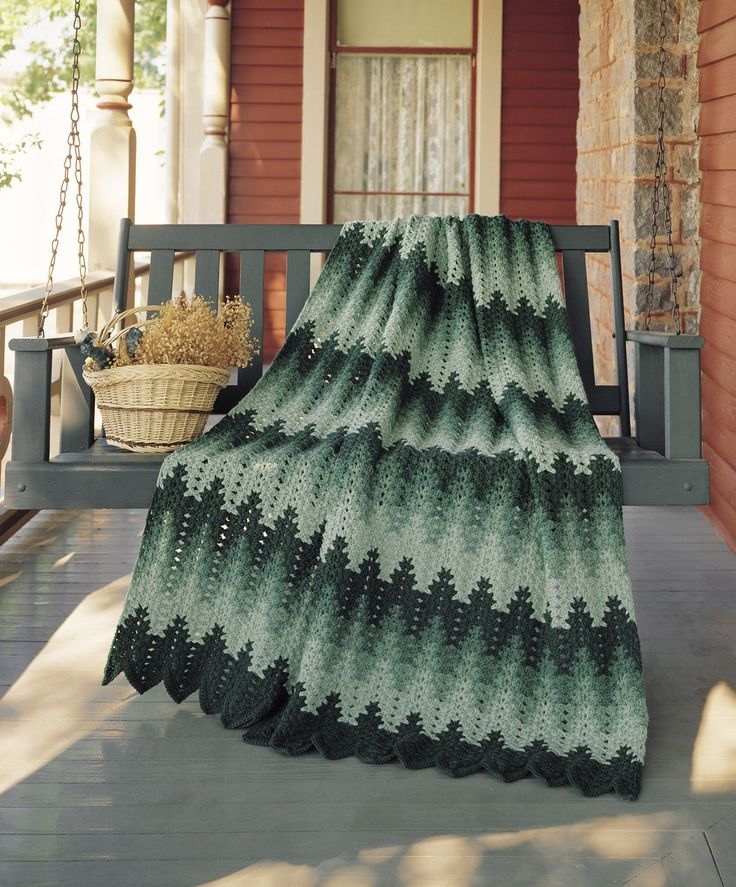 Lacy Chevron ePattern - A wavelike motion is created from your use of color sequences helping to give an undulating effect to your crocheted afghan. This lacy afghan is created by a repeated stitched shell pattern. Along with colorfully shaded ripples, these characteristics make this chevron-patterned afghan a part of your eye-catching room decor. Instructions for a Planned Afghan or a Scrap Afghan are included. The Lacy Chevron afghan uses worsted weight yarn and crochet hook size H (5.0…