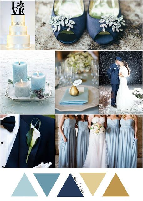 Light Blue Navy And Gold Cinderella Themed Winter Wedding