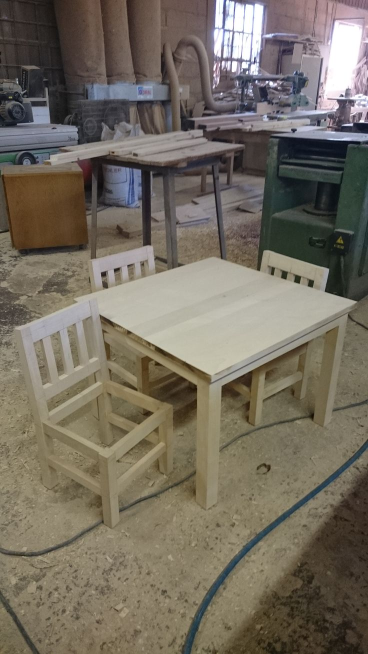 The bare-bones of what will soon be a mini kiddies dining set made as a perfect replica of an existing dining room suite.