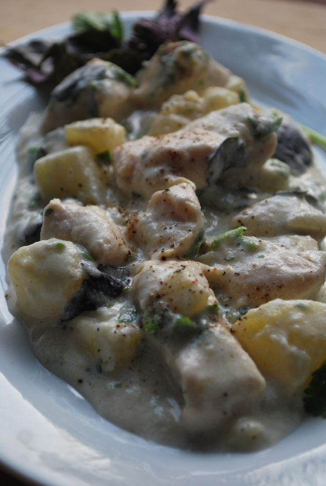Ossetian Chicken with Sour Cream ready for serving