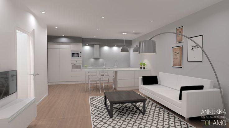 Sisustussuunnittelu Annukka Tolamo / 3D-mallinnus olohuone ja keittiö / Remonttikohde