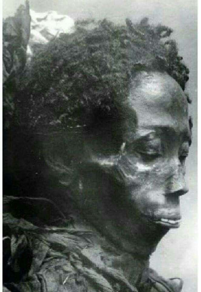 This is a 5000 year old Egyptian Mummy.  Notice she's not European  as the Europeans history writers would have you to believe.