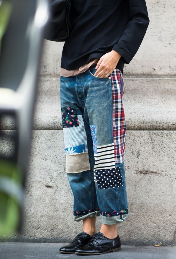 Idea for altered jeans. This could also work for chinos. I imagine that this could also look great with Liberty-like floral prints on women's pants.