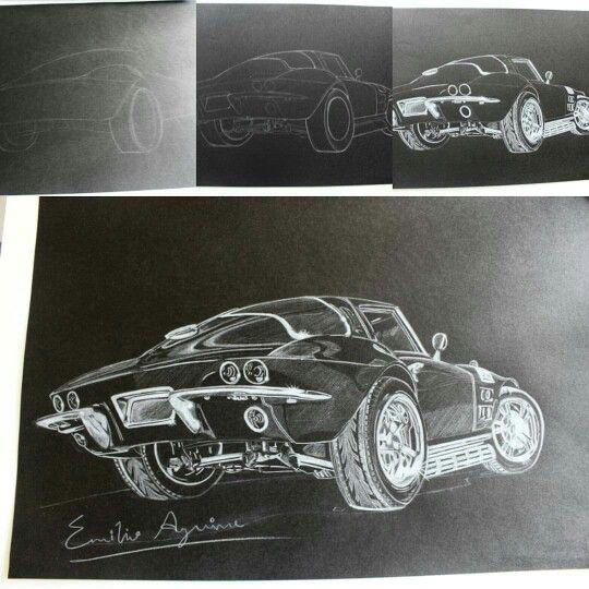 Corvette Stingray Splitwindow 1963 Sketch process