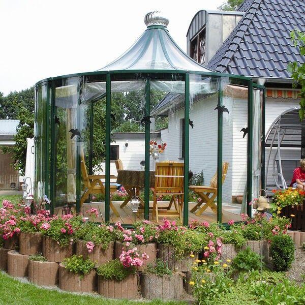 Inspirational Diese einzigartige Pavillon hat Glasw nde und oben die gro e Sichtbarkeit zu geben gleichzeitig noch die Aluminum GazeboPermanent GazeboFlagGarden
