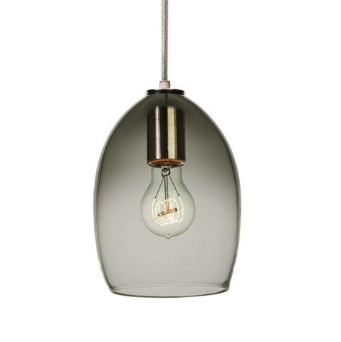 Hand Blown Gradient Grey Glass & Steel Cord Pendant Light
