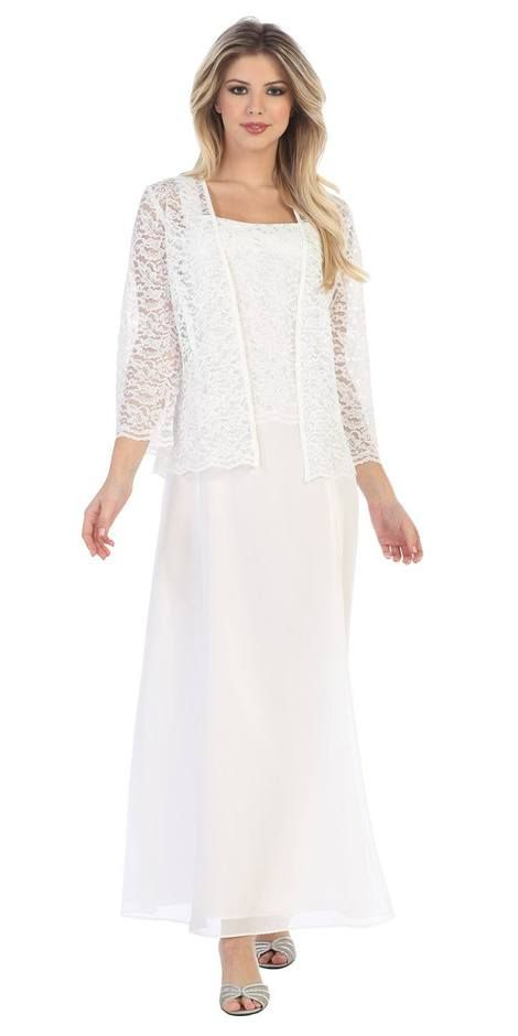87a97244ea7 Long Chiffon Off White Mother of Groom Dress Lace 3 4 length Sleeve Jacket