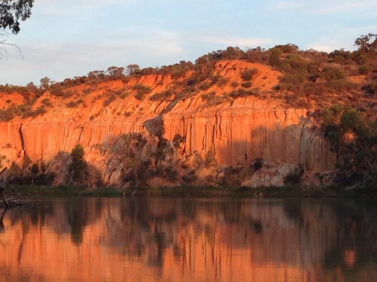 Cliff's at sunset near Renmark, South Australia