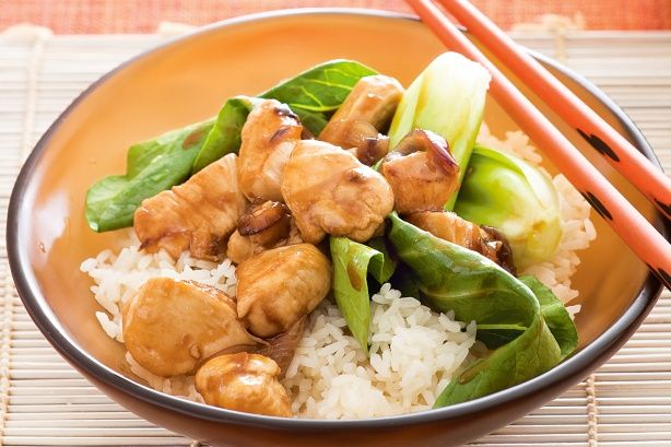 Honey chicken with pak choy This is so good.  Easier to just put the pak choi in the wok and cover after chicken is cooked.  Let it wilt for a few minutes.  MMMMM