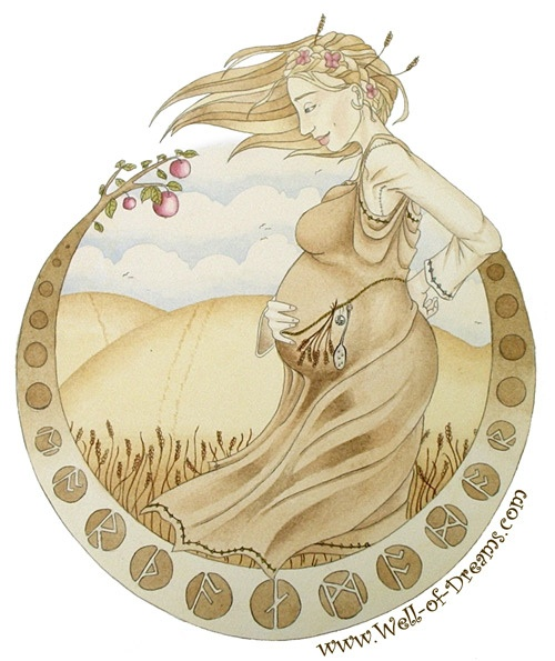 "Earthen Mother    An old watercolour, done in 2005 when I was about 19.    The runes spell out ""Earthen Mother"" in old english :)    http://www.flickr.com/photos/cannycat/"