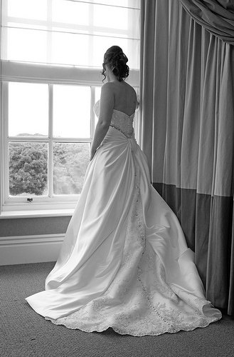 Wedding Photography - Seaham Hall, County Durham. Bride portrait in Black and White. seaham hall hotel.