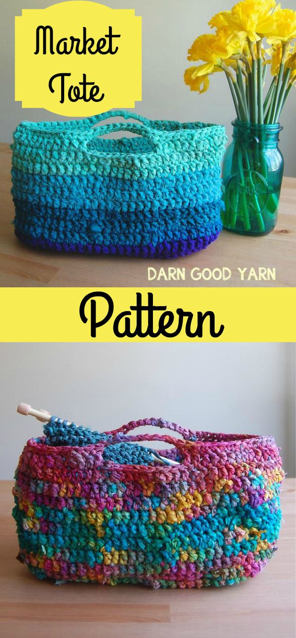 Crochet Pattern for Market Tote easy for beginners and a beautiful bag for carrying groceries, beach supplies, knit and crochet supplies, baby  or pet gear, and more.