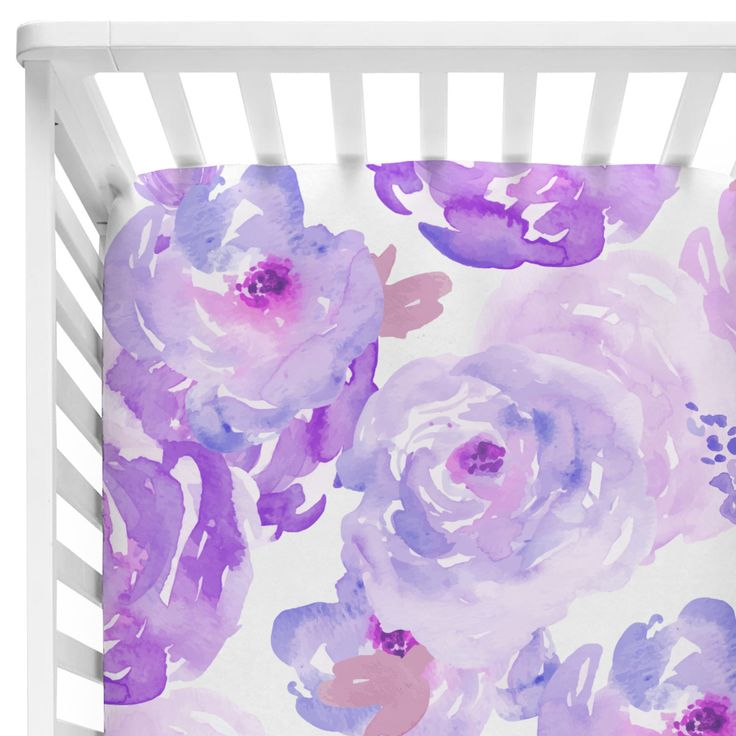 Purple Crib Sheet with Watercolor Flowers