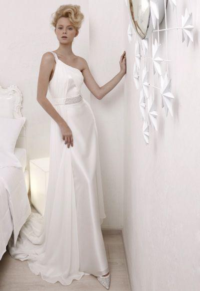 Robe de mariée pas cher | Robe de soirée pas cher - Robe épaule asymétrique décorée de perles avec traîne balayée en satin et chiffon