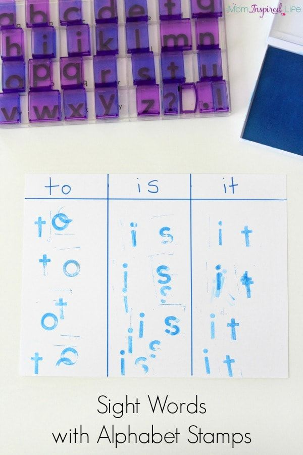 Learning sight words with alphabet stamps. A hands-on literacy activity that helps kids learn sight words.