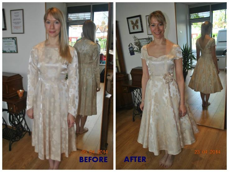 vintage wedding dress before and after alteration altered dress cup sleeves new re