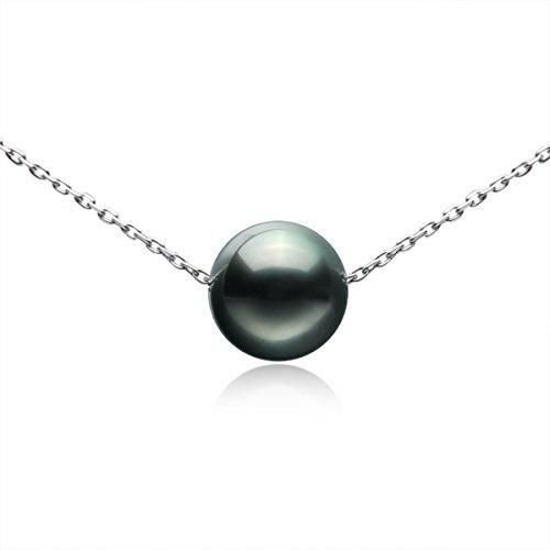 Tahitian Cultured Single Black Pearl 9-10mm 925 Sterling Silver Necklace Gifts for Women by VIKI LYNN