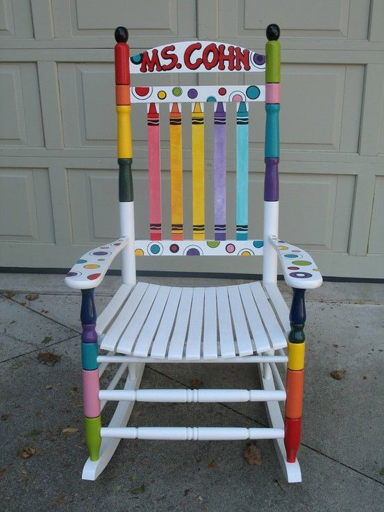 I just bought a 10 dollar rocking chair for my future classroom! I just can't wait to do something like this to it!