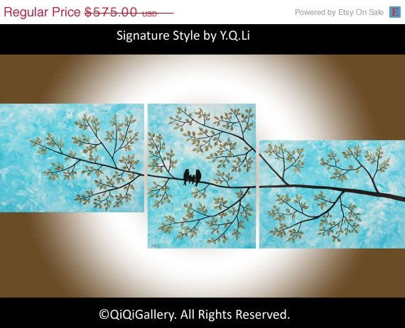 """Birds Art 66"""" Abstract Acrylic Painting Palette Knife Birds Family Painting """"Serendipity"""" by qiqigallery"""
