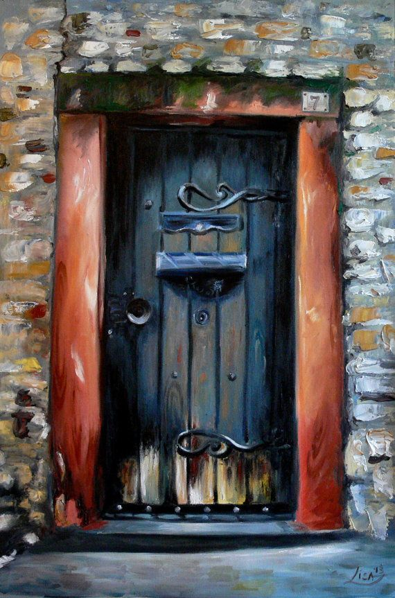 Original Oil Painting Old Door 35 x 24 - Canvas Large Palette Knife Impasto Oil Contemporary & 86 best secret garden images on Pinterest | Etchings Oil on canvas ...