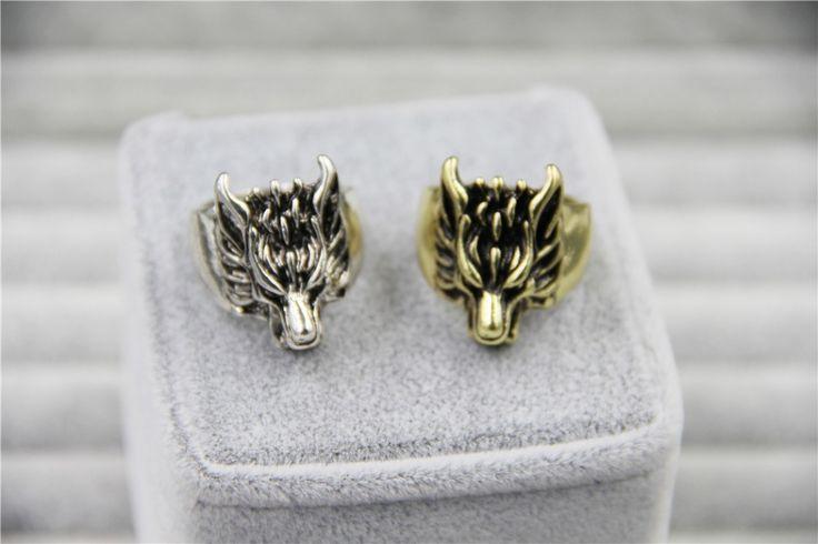 2015 moda Jewely encanto Vintage cabeza del lobo del anillo para hombre y mujeres