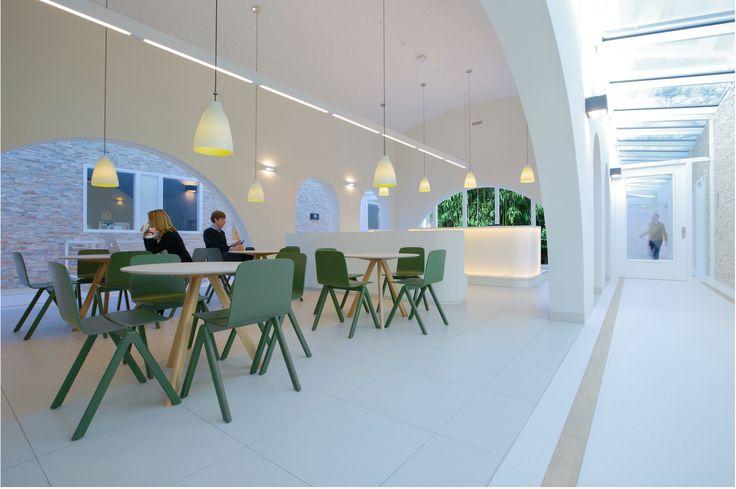 Hospital interior design, general waiting area and reception with patio. Psychiatry Unit Radboudumc. Interior Health Care design Suzanne Holtz Studio