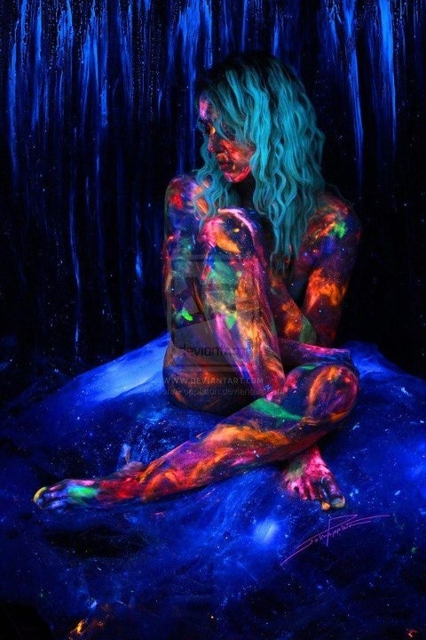 Glow paint. Rave on :) empire of the sun repin please