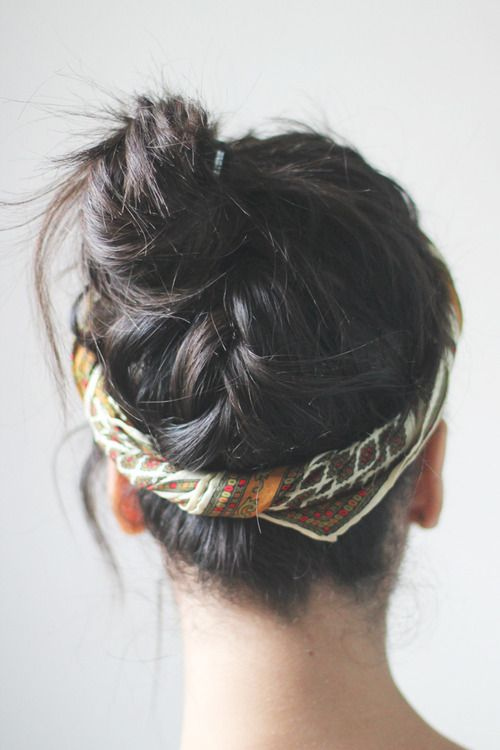 upside down braid bun...with a scarf.